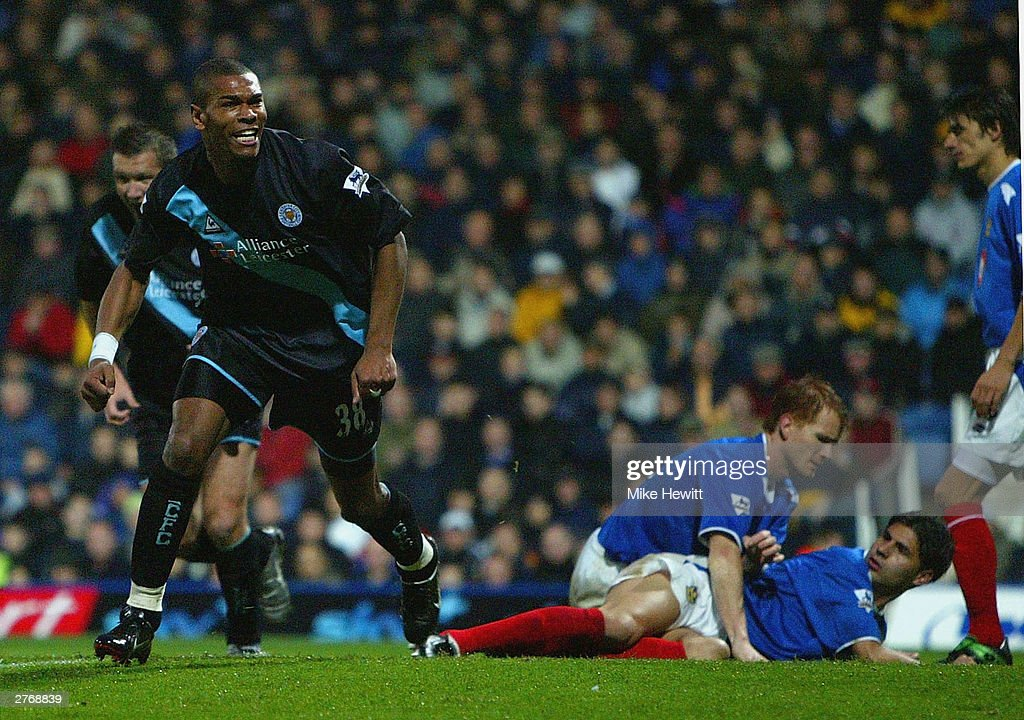 Marcus Bent of Leicester City celebrates scoring the second goal against Portsmouth during the FA Barclaycard Premiership match between Portsmouth and Leicester City at Fratton Park on November 29, 2003 in Portsmouth, England.