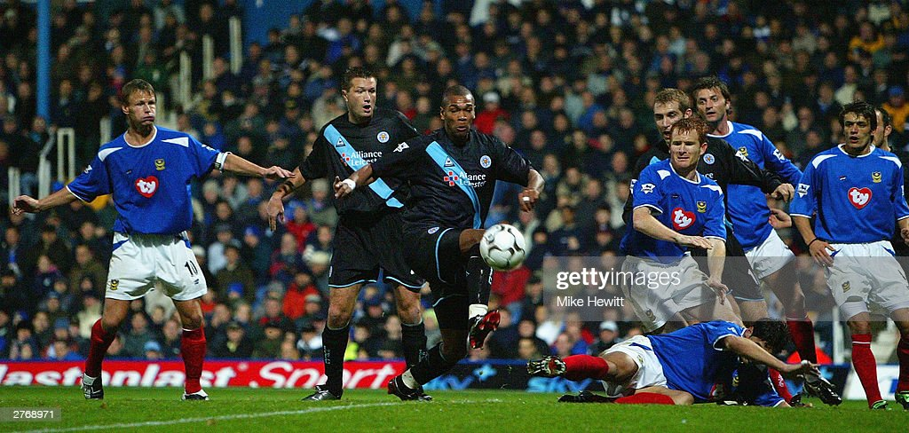Marcus Bent of Leicester City scores the second goal against Portsmouth during the FA Barclaycard Premiership match between Portsmouth and Leicester City at Fratton Park on November 29, 2003 in Portsmouth, England.