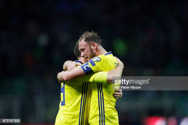 Marcus Berg and Andreas Granqvist of Sweden celebrates after the victory in the FIFA 2018 World Cup Qualifier PlayOff Second Leg between Italy and...