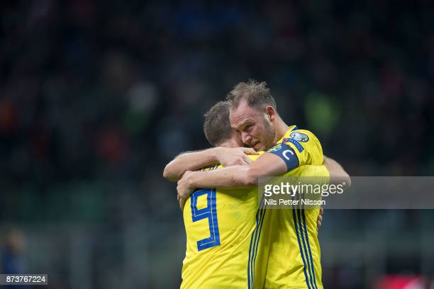 Marcus Berg and Andreas Granqvist of Sweden celebrates after the victory during the FIFA 2018 World Cup Qualifier PlayOff Second Leg between Italy...