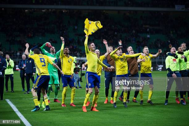Marcus Berg Mikael Lustig Emil Forsberg and Sebastian Larsson of Sweden celebrates after the FIFA 2018 World Cup Qualifier PlayOff Second Leg between...