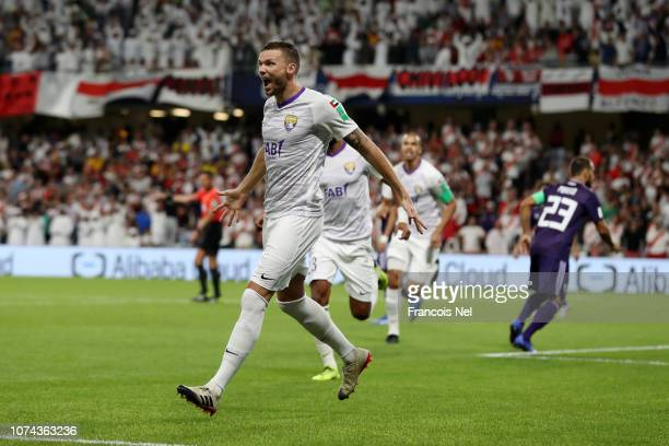 Marcus Berg of Al Ain celebrates after scoring his team's first goal during the FIFA Club World Cup UAE 2018 Semi Final Match between River Plate and...