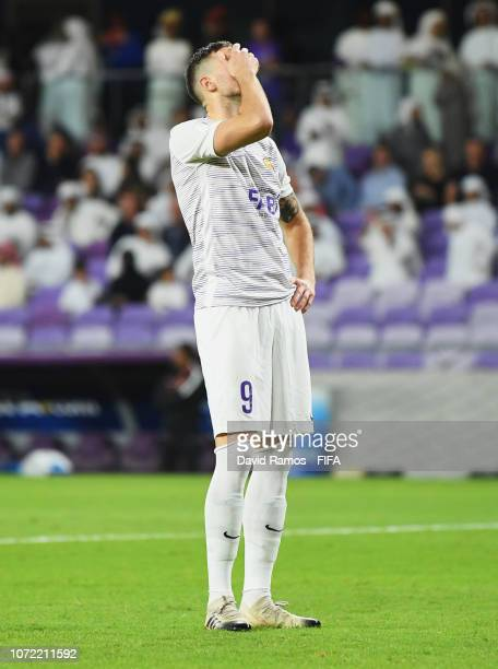 Marcus Berg of Al Ain reacts as he misses a penalty in the shoot out during the FIFA Club World Cup first round play-off match between Al Ain FC and...