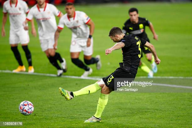 Marcus Berg of FC Krasnodar scores his sides second goal from the penalty spot during the UEFA Champions League Group E stage match between FC...