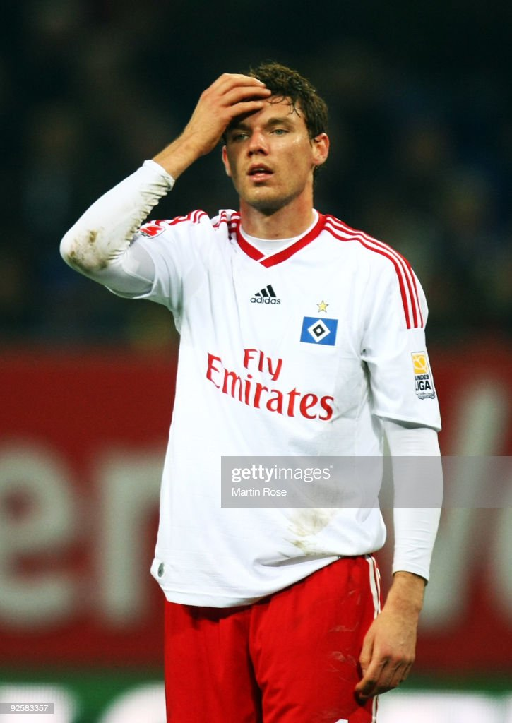 Marcus Berg of Hamburg reacts during the Bundesliga match between Hamburger SV and Borussia M'gladbach at the HSH Nordbank Arena on October 31, 2009 in Hamburg, Germany.