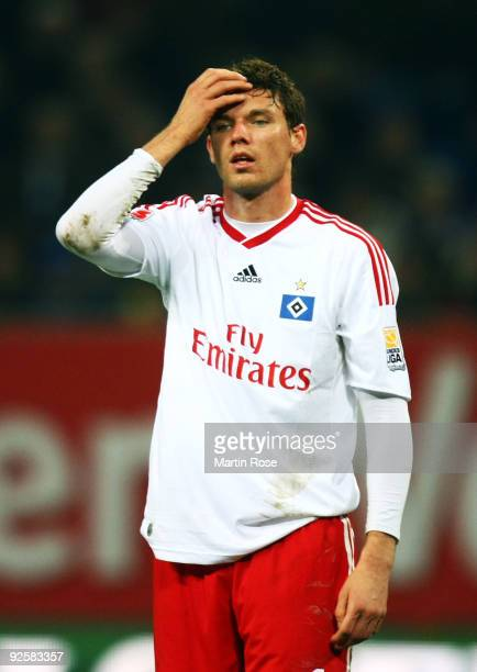 Marcus Berg of Hamburg reacts during the Bundesliga match between Hamburger SV and Borussia M'gladbach at the HSH Nordbank Arena on October 31 2009...