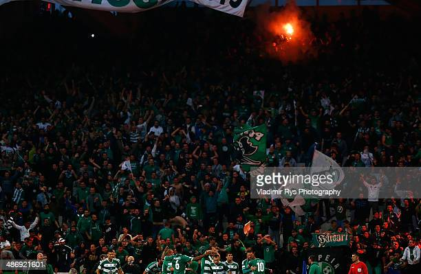 Marcus Berg of Panathinaikos is celebrated by his team mates after scoring his team's first goal during the Greek Cup Final match between PAOK and...
