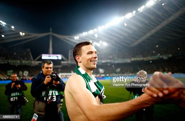 Marcus Berg of Panathinaikos is pictured after winning the Greek Cup Final match between PAOK and Panathinaikos FC at the OAKA Stadium on April 26...