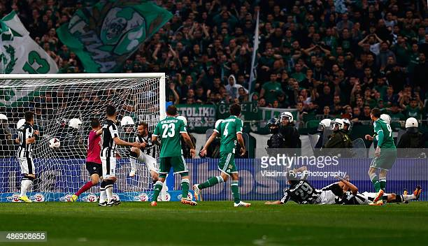 Marcus Berg of Panathinaikos scores his team's first goal during the Greek Cup Final match between PAOK and Panathinaikos FC at the OAKA Stadium on...