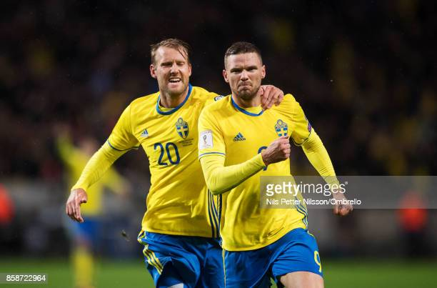 Marcus Berg of Sweden celebrates after scoring to 20 during the FIFA 2018 World Cup Qualifier between Sweden and Luxembourg at Friends Arena on...