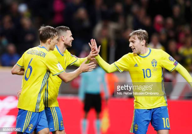 Marcus Berg of Sweden celebrates after scoring to 60 during the FIFA 2018 World Cup Qualifier between Sweden and Luxembourg at Friends Arena on...