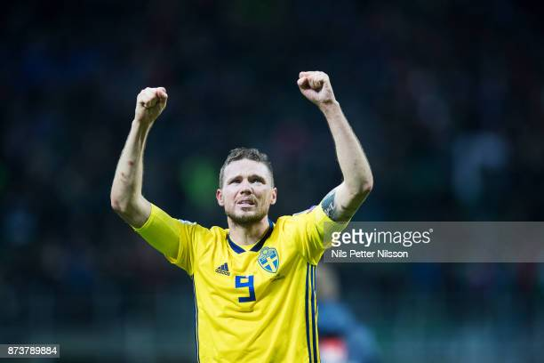 Marcus Berg of Sweden celebrates after the FIFA 2018 World Cup Qualifier PlayOff Second Leg between Italy and Sweden at San Siro Stadium on November...