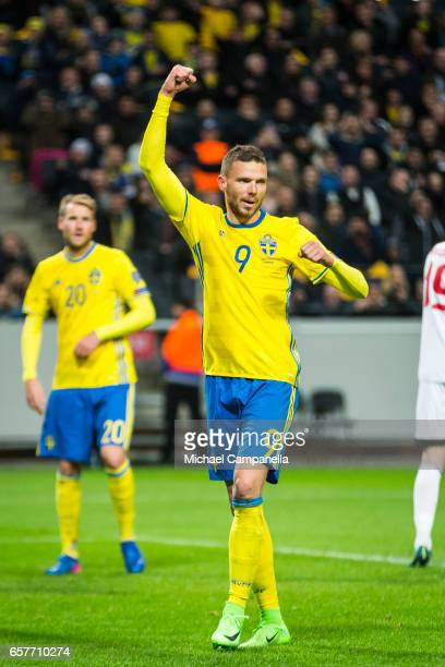 Marcus Berg of Sweden celebrates scoring the 30 goal during the FIFA 2018 World Cup Qualifier between Sweden and Belarus at Friends arena on March 25...