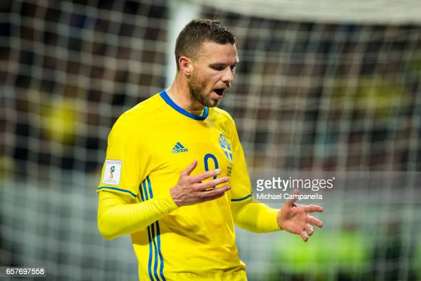 Marcus Berg of Sweden dejected after a missed chance on goal during the FIFA 2018 World Cup Qualifier between Sweden and Belarus at Friends arena on...
