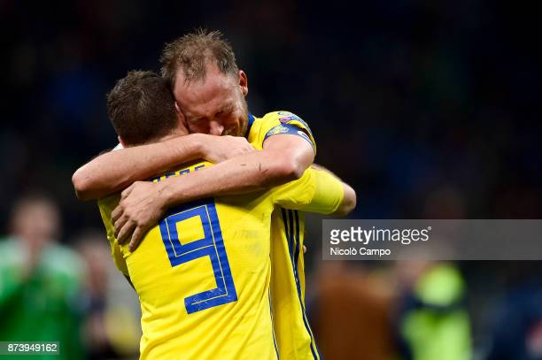 Marcus Berg of Sweden hugs Andreas Granqvist at the end of the FIFA 2018 World Cup Qualifier PlayOff Second Leg between Italy and Sweden The match...
