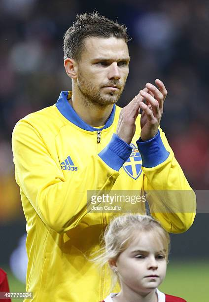 Marcus Berg of Sweden looks on prior to the UEFA EURO 2016 qualifier playoff second leg match between Denmark and Sweden at Telia Parken stadium on...
