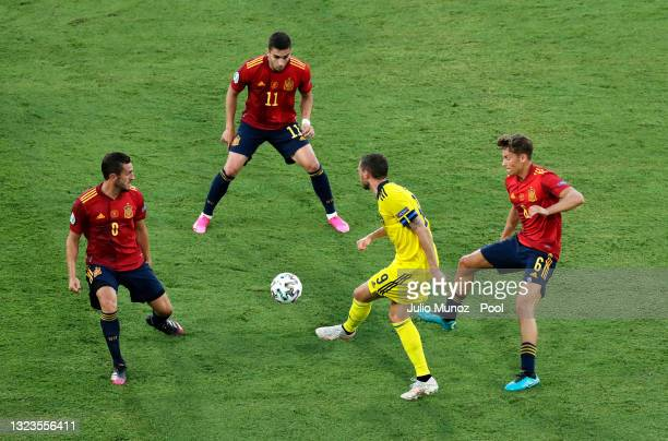 Marcus Berg of Sweden passes through Koke and Ferran Torres of Spain whilst under pressure from Marcos Llorente of Spain during the UEFA Euro 2020...