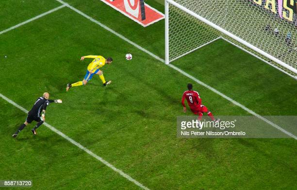 Marcus Berg of Sweden scores to 30 during the FIFA 2018 World Cup Qualifier between Sweden and Luxembourg at Friends Arena on October 7 2017 in Solna...