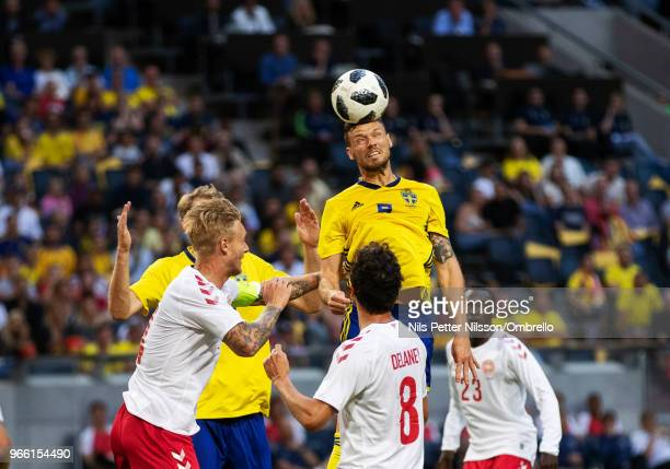 Marcus Berg of Sweden shoots a header during the International Friendly match between Sweden and Denmark at Friends Arena on June 2 2018 in Solna...