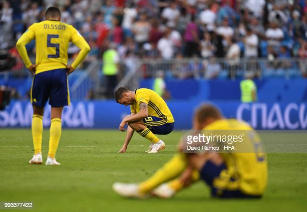 Marcus Berg of Sweden shows his dejection following the 2018 FIFA World Cup Russia Quarter Final match between Sweden and England at Samara Arena on...
