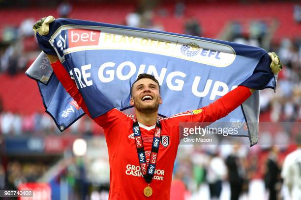 Marcus Bettinelli of Fulham celebrates his side's victory following the Sky Bet Championship Play Off Final between Aston Villa and Fulham at Wembley...