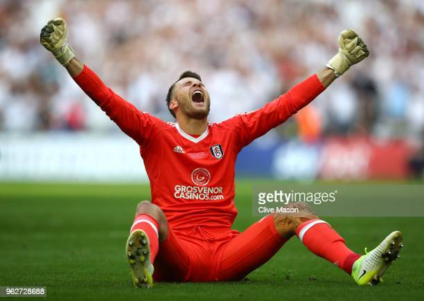 Marcus Bettinelli of Fulham celebrates his sides victory in the Sky Bet Championship Play Off Final between Aston Villa and Fulham at Wembley Stadium...