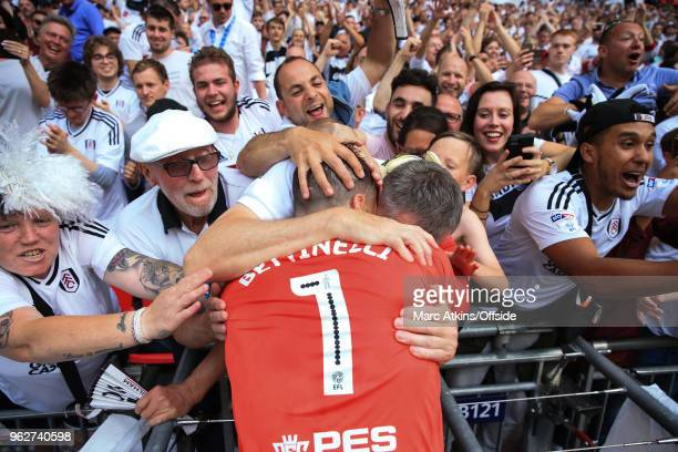 Marcus Bettinelli of Fulham celebrates with the fans during the Sky Bet Championship Play Off Final between Aston Villa and Fulham at Wembley Stadium...