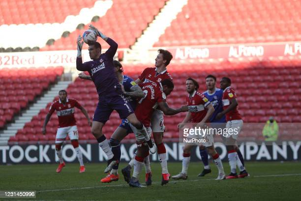 Marcus Bettinelli of Middlesbrough claims a cross during the Sky Bet Championship match between Middlesbrough and Cardiff City at the Riverside...