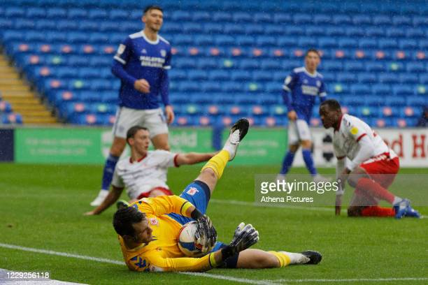 Marcus Bettinelli of Middlesbrough csatches the ball from a Cardiff shot during the Sky Bet Championship match between Cardiff City and Middlesbrough...
