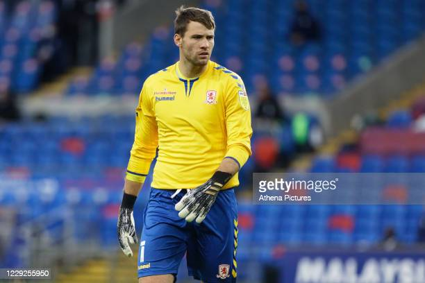 Marcus Bettinelli of Middlesbrough in action during the Sky Bet Championship match between Cardiff City and Middlesbrough at the Cardiff City Stadium...