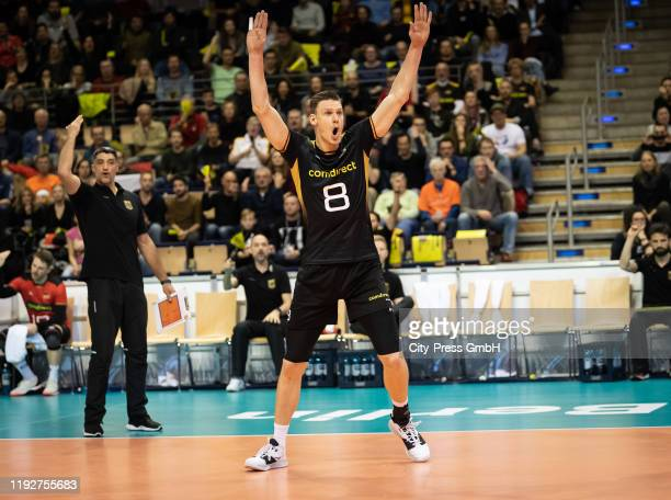 Marcus Boehme of team Germany during the Volleyball European Qualification match between Bulgaria and Germany at MaxSchmelingHalle on January 9 2020...