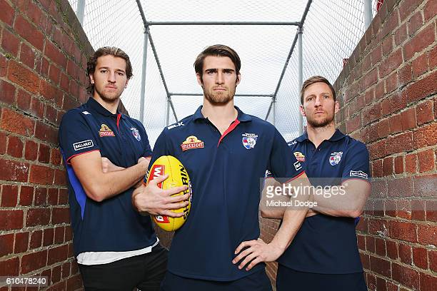 Marcus Bontempelli Easton Wood and Matthew Boyd of the Bulldogs pose during a Western Bulldogs AFL media opportunity at Whitten Oval on September 26,...