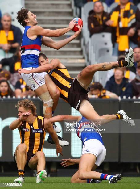 Marcus Bontempelli of the Bulldogs and Ben Stratton of the Hawks compete for the ball during the round two AFL match between the Hawthorn hawks and...