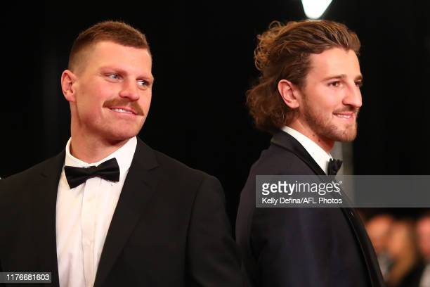 Marcus Bontempelli of the Bulldogs and Jack Redpath arrive ahead of the 2019 Brownlow Medal at Crown Palladium on September 23 2019 in Melbourne...