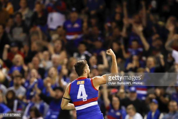 Marcus Bontempelli of the Bulldogs celebrates a goal during the 2021 AFL Round 02 match between the Western Bulldogs and the West Coast Eagles at...