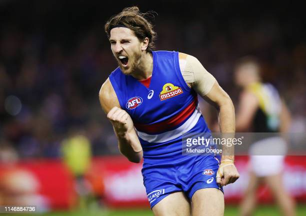 Marcus Bontempelli of the Bulldogs celebrates a goal during the round seven AFL match between the Western Bulldogs and the Richmond Tigers at Marvel...