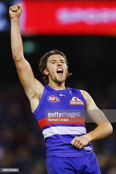 Marcus Bontempelli of the Bulldogs celebrates a goal during the round 20 AFL match between the Western Bulldogs and the North Melbourne Kangaroos at...