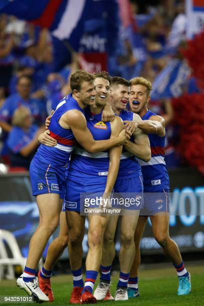 Marcus Bontempelli of the Bulldogs celebrates a goal during the round three AFL match between the Western Bulldogs and the Essendon Bombers at Etihad...