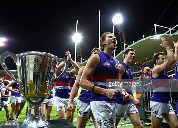 Marcus Bontempelli of the Bulldogs celebrates victory after the AFL First Preliminary Final match between the Greater Western Sydney Giants and the...