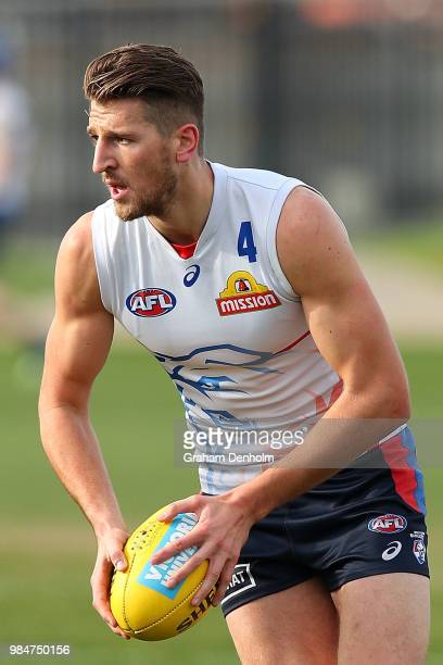 Marcus Bontempelli of the Bulldogs kicks during a training session at Whitten Oval on June 27 2018 in Melbourne Australia