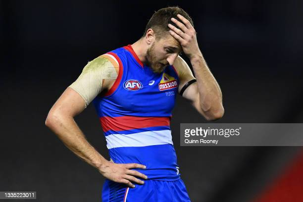Marcus Bontempelli of the Bulldogs looks dejected following the round 23 AFL match between Western Bulldogs and Port Adelaide Power at Marvel Stadium...