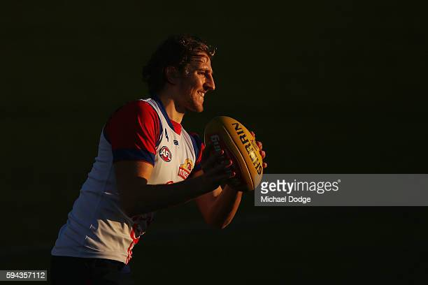 Marcus Bontempelli of the Bulldogs looks upfield during a Western Bulldogs AFL training session at Whitten Oval on August 23 2016 in Melbourne...