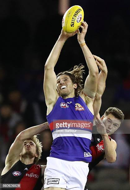 Marcus Bontempelli of the Bulldogs marks the ball during the round 22 AFL match between the Essendon Bombers and the Western Bulldogs at Etihad...