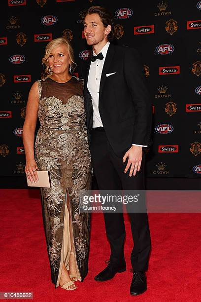 Marcus Bontempelli of the Western Bulldogs and Geraldine Bontempelli arrives ahead of the 2016 Brownlow Medal at Crown Entertainment Complex on...