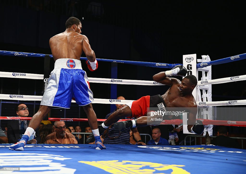 Marcus Browne knocks out Robert Hill during their Cruiserweight fight at Best Buy Theater on August 19, 2013 in New York City.