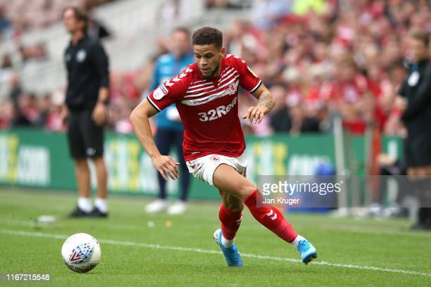 Marcus Browne of Middlesbrough during the Sky Bet Championship match between Middlesbrough and Brentford at Riverside Stadium on August 10, 2019 in...