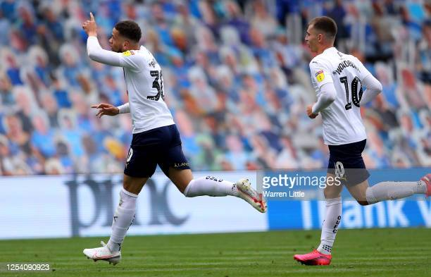 Marcus Browne of Oxford United celebrates after he 1scores his teams first goal during the Sky Bet League One Play Off Semifinal 1st Leg match...