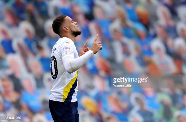 Marcus Browne of Oxford United celebrates after he scores his teams first goal during the Sky Bet League One Play Off Semi-final 1st Leg match...