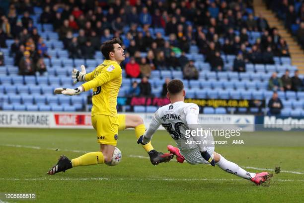 Marcus Browne of Oxford United scores a goal to make it 21 during the Sky Bet League One match between Shrewsbury Town and Oxford United at...