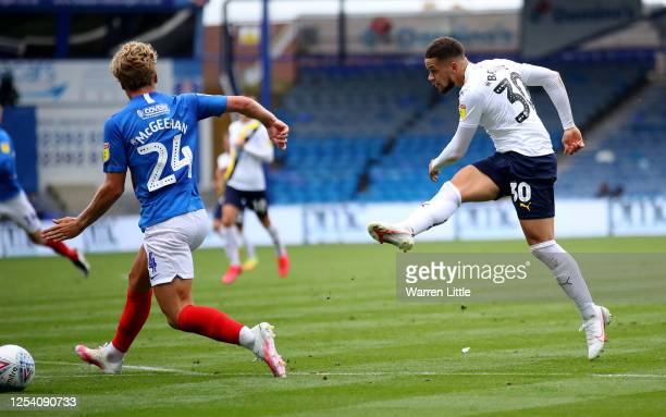 Marcus Browne of Oxford United scores his teams first goal during the Sky Bet League One Play Off Semifinal 1st Leg match between Portsmouth FC and...